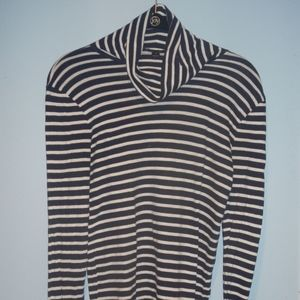 J Crew Navy and White Striped Turtleneck